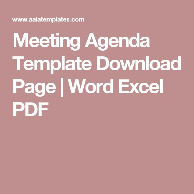Meeting Agenda Template Download Page | Word Excel PDF