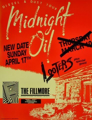 "Midnight Oil Poster from Fillmore Auditorium on 17 Apr 88: 17"" x 22"""