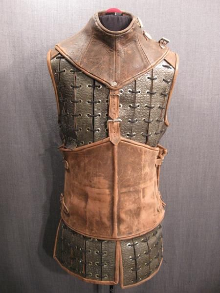 09039967 Armor Medeval Grey Brown Leather Grommeted Strips C38.JPG