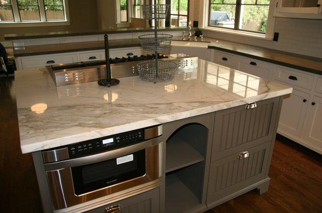 Calacatta Michelangeo immaculate kitchen island.