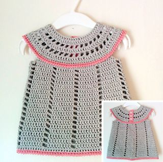 This simple yet adorable baby dress is crocheted in one piece, top down. First, you make the circular yoke in rows back and forth. The yoke has button closure at the back. The skirt section is then crocheted straight onto the yoke, in rounds. It can be worn on its own in hot weather or over a body and tights in colder climes.