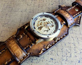 Steampunk Watch watch for men Leather cuff by ClockworkBIRDshop