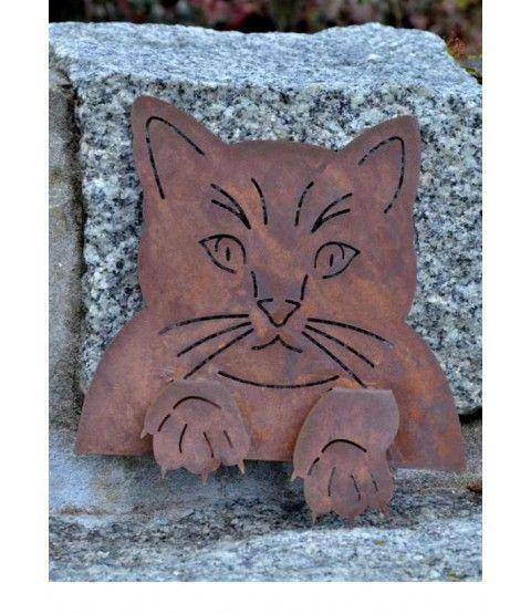 DEWOGA Katzenkopf zum Einhaken Katze Edelrost Rost Metall Garten Neu  - 2-flowerpower