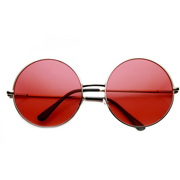 Indie Festival Hippie Oversize Round Colorful Lens Sunglasses 9580 (36 BRL) ❤ liked on Polyvore featuring accessories, eyewear, sunglasses, glasses, fillers, red, circle lens sunglasses, circular sunglasses, oversized sunglasses and hippie sunglasses