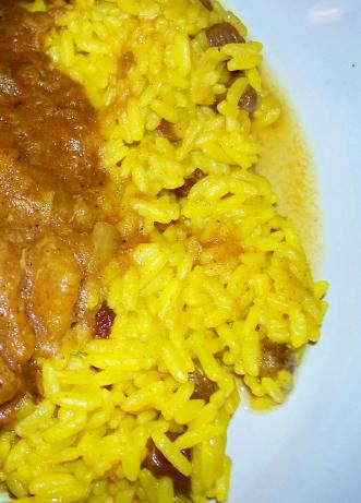 South African Yellow Rice from Food.com: This is a traditional South African recipe, which comes from the great culinary tradition of the Cape Malays -- originally brought in as slaves in the 17th century. It's easy and plain, but great with meats like venison, corned beef tongue or any meat with gravy. Recipe courtesy of Allrecipes. Posted for Zaar World Tour II.