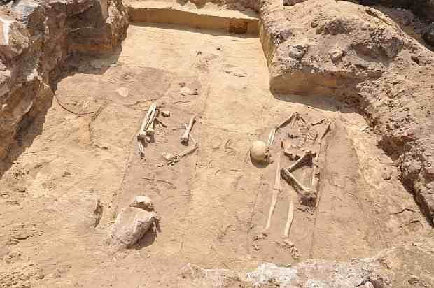 """Four skeletons unearthed in Poland appear to have been buried in a """"vampire"""" ritual designed to prevent them returning from the grave. Shown here are the graves (Image: Regional Conservator of Monuments)"""