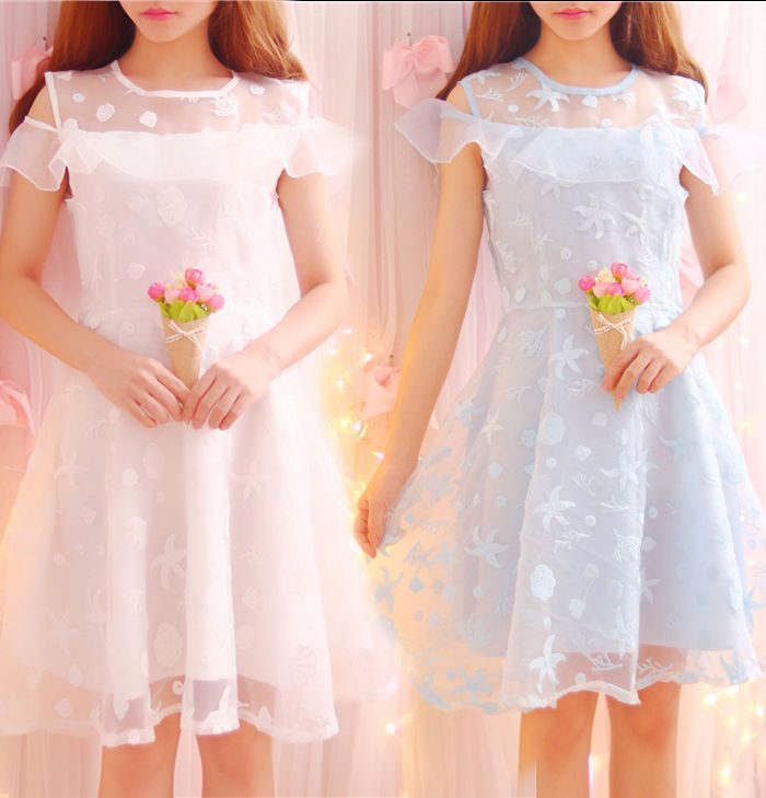 Japanese Loli Refreshing Strapless Organza Dress Embroidered Flowers Skirt Girls