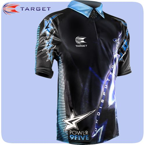 Phil Taylor Dart Shirt - Target - Undisputed Power - Cool Play - Authentic Replica Shirt - XS to 4XL - Black and Blue