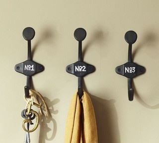 pottery barn schoolhouse numbered hooks for the entryway