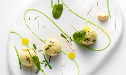 Langoustine, Orange, and Lemon Cream Bonbons with Maille Basilic et Pointe de Fenouil (Mustard with Basil and Fennel)