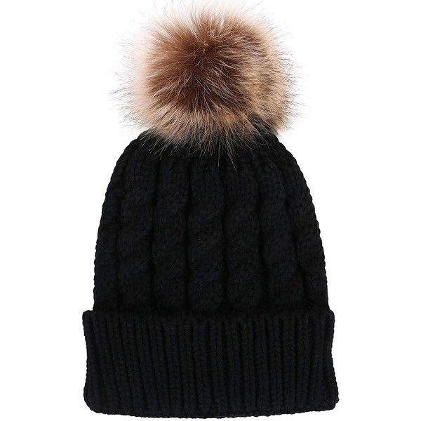 Verabella Winter Beanie Women s Chunky Cable Knit Pom Pom Beanie Hats...  (39 PEN) ❤ liked on Polyvore featuring accessories 309da67e10d