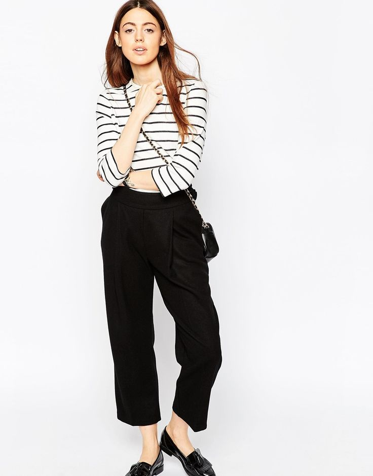 Image 1 of ASOS Wool Touch Cropped Peg Trousers with D-rings