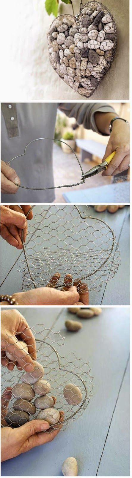 How to Make a Unique Stone Heart This would make a fun frame for succulents with Spanish moss instead of the rocks.