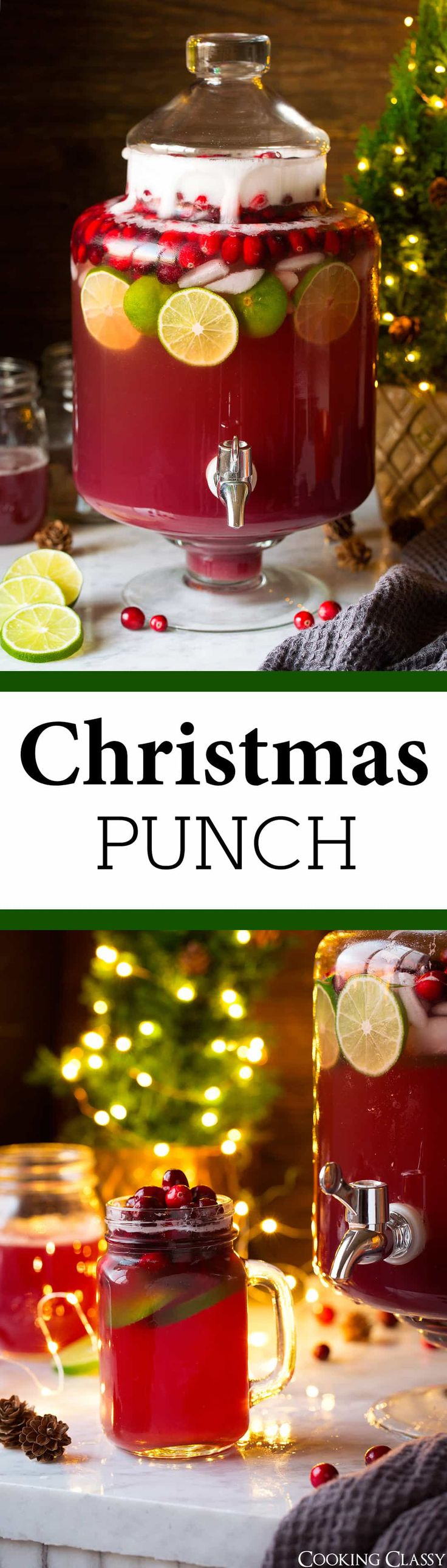 Christmas Punch Ingredients 6 cups cranberry juice or pomegranate cranberry juice* 3 cups pineapple juice 1 Tbsp almond extract 3 liters ginger ale 1 12 oz. bag fresh cranberries (optional) 2 fresh limes, sliced (optional) Ice