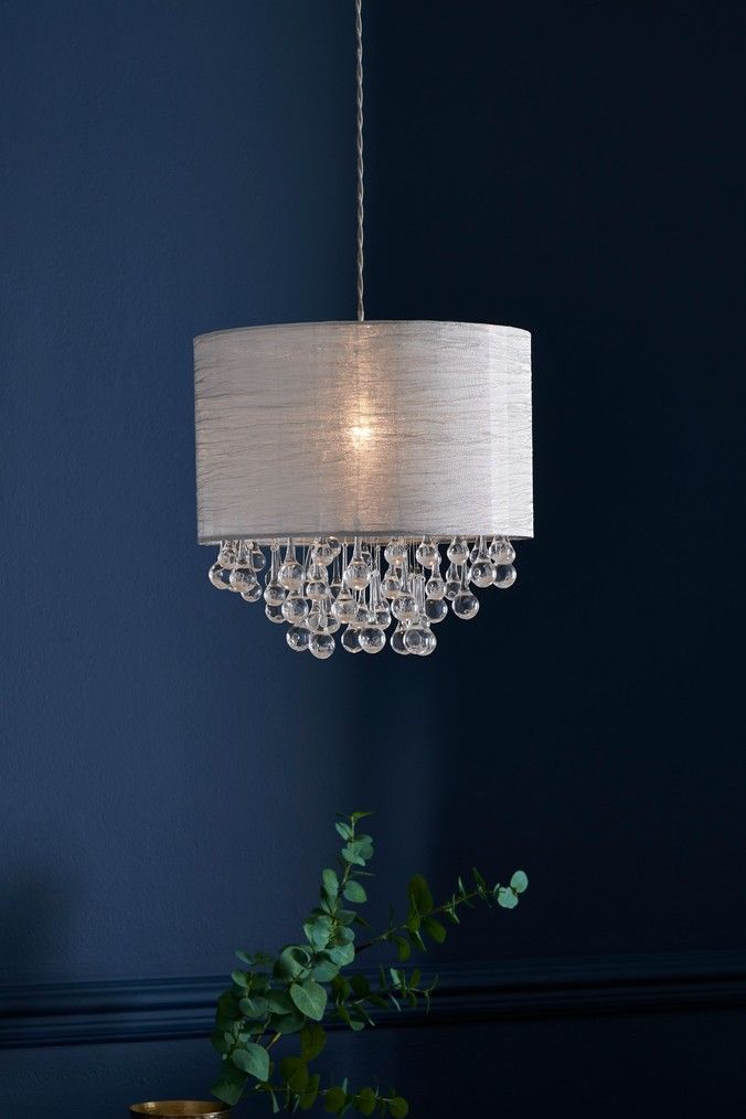 Next Dewdrop Easy Fit Pendant Grey Contemporary Ceiling Light