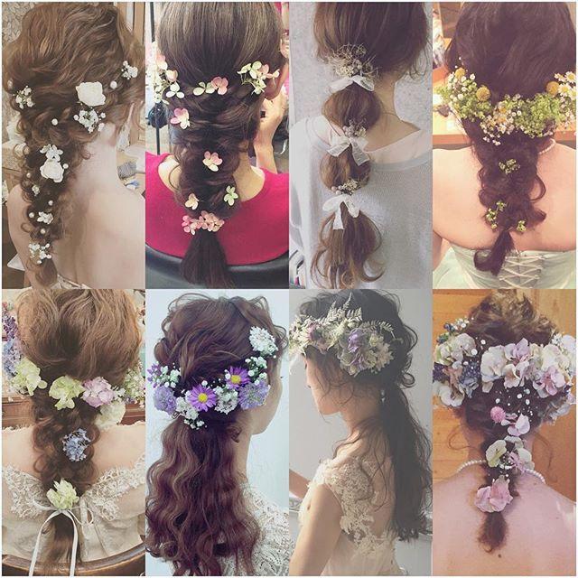 * * wedding ♡ hair * * 髪はシンプルにまとめて 生花で華やかさを 出してあります♡ * * 生花のバランスも 大切にしています♡…