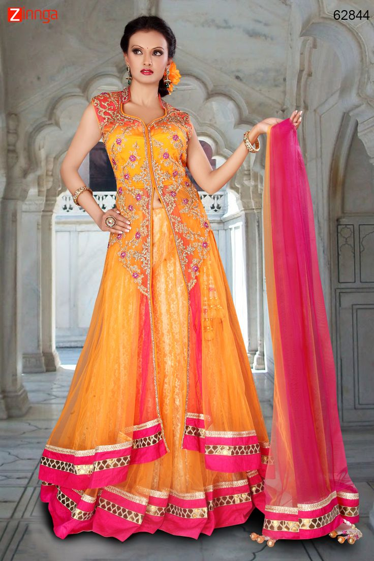 Net Fabric & Yellow Color Attractive Lehenga Style In Achkan Look. Message/call/WhatsApp at +91-9246261661 or Visit www.zinnga.com