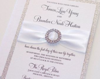 Silver Glitter Wedding Invitation Elegant By EmbellishedPaperie