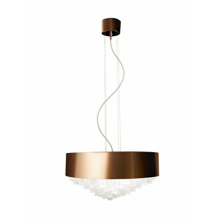 A new chandelier designed by Thomas Larsson for Krebs. Copper shade and white crystal bars