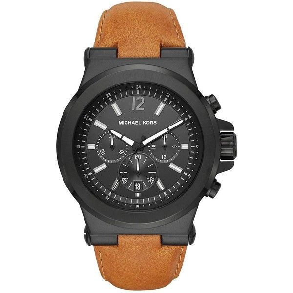 Michael Kors Dylan IP Stainless Steel Chronograph Strap Watch (4,140 THB) ❤ liked on Polyvore featuring men's fashion, men's jewelry, men's watches, mens brown leather strap watches, mens water resistant watches, mens brown leather watches, mens stainless steel watches and michael kors mens watches