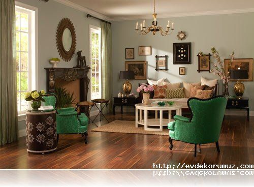 Living Room I Love The Unexpected Statement Of Emerald Green Chairs Mixed With Vintage Heirlooms