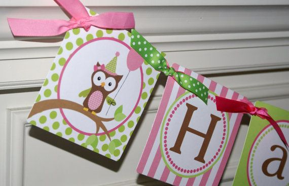Great colors and I'm loving this owl theme!: Owls Happy, Girls Generation, Girls Owls, Birthday Girls, 1St Bday, Happy Birthday Banners, 1St Birthdays, Parties Paper, Birthday Ideas