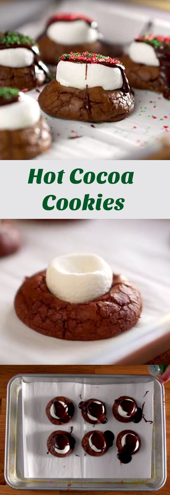 Hot Cocoa Cookie Recipes | What's better than a warm cup of hot cocoa? A gooey hot cocoa cookie! It's the perfect wintry treat. Click to watch the quick video on how to make this bite-sized desert.