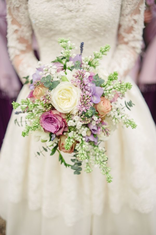 light purples and creams with eucalyptus.