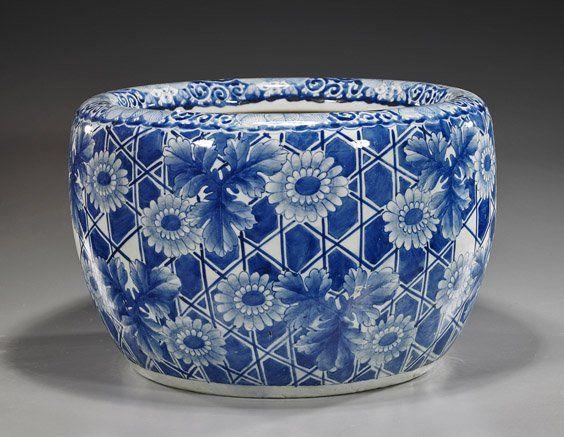 Antique Japanese Arita Porcelain Hibachi.