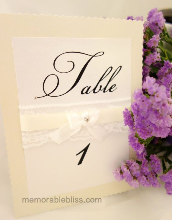 Handmade white lace table number with Swarovski crystals - by Memorable Bliss Wedding Stationery