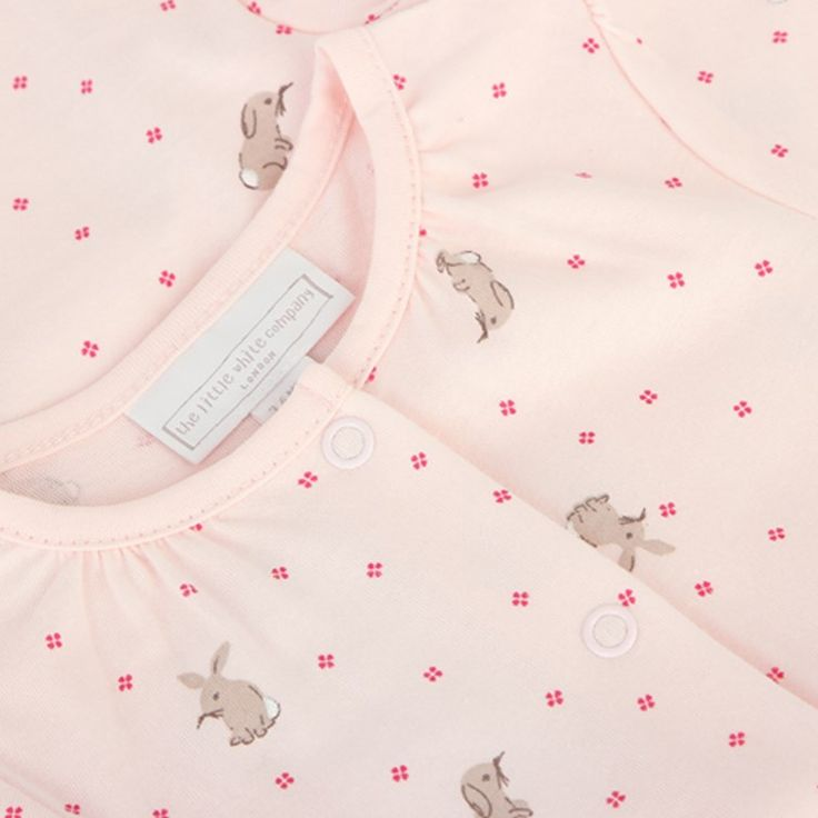 The Little White Company Pink Baby Bunny Babygrow