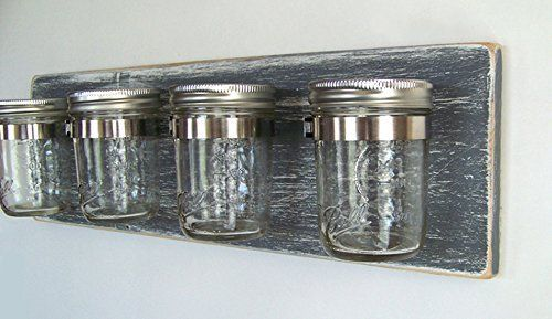 Bathroom Storage by Out Back Craft Shack: Rustic Decor Mason Jar Toothbrush Holder