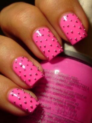 studded pink.: Polka Dots, Nails Art Ideas, Nails Design, Nailart, Pink Nails, Studs Nails, Hot Pink, Nails Polish, Bright Nails
