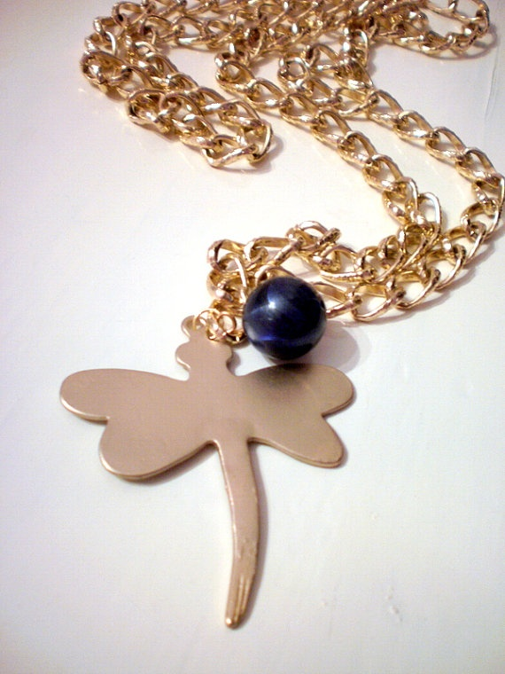 Dragonfly gold chain necklace big blue bead / by katerinaki106, $18.00