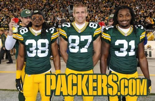 Aaron Rodgers photobomb:  2013 Week 9: Chicago Bears Tramon Williams, Jordy Nelson, Davon House