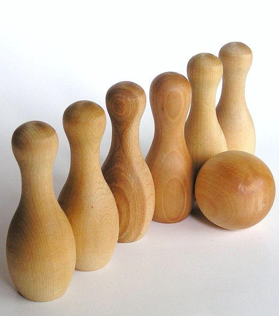 Six-pin bowling set, solid wood, handmade