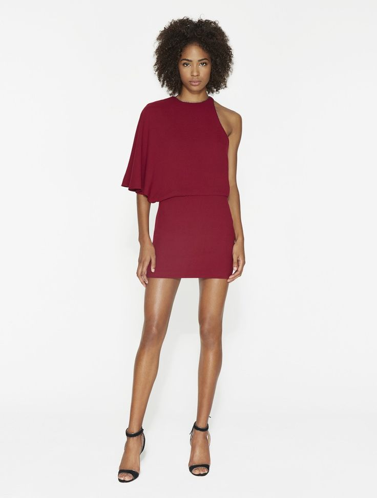 HALSTON HERITAGE ASYMMETRIC CREPE MINI DRESS - DAHLIA. #halstonheritage  #cloth #
