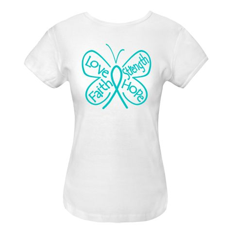 Peritoneal Cancer Butterfly Women's Fitted T-Shirts #PeritonealCancer #ButterflyRibbonShirts #PeritonealCancerAwareness
