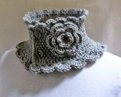 Knit Crochet Neck warmer Scarf Collar grey Victorian style