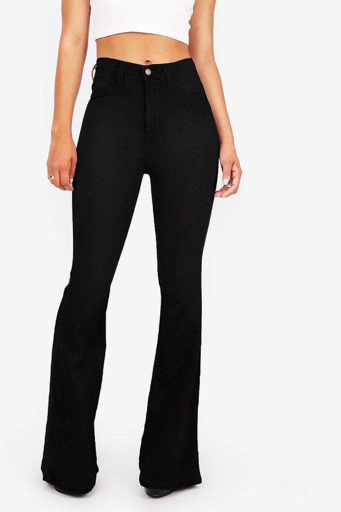 High waist fitted pants with flared bottoms. Faux pockets on the front with button and zip fly. Comfortable stretchy material. Looks great with a cropped tee or tank. For a dressier look tuck in a chi