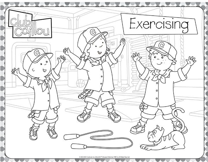 caillou loves to exercise coloring sheet club caillou - Caillou Gilbert Coloring Pages