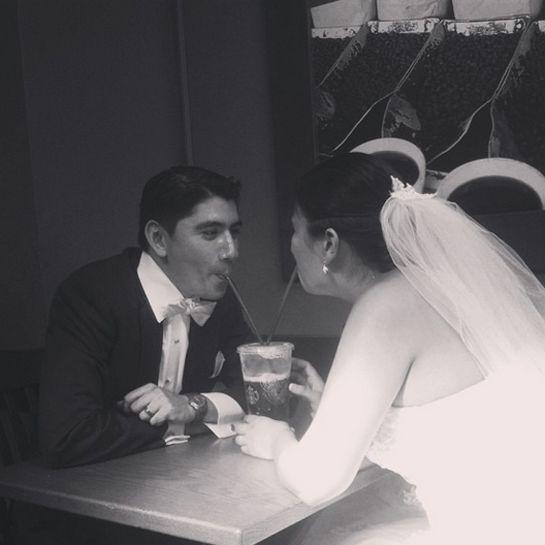 """So cute! A bride, groom, and Starbucks! #starbuckswedding #wedding #cute"""