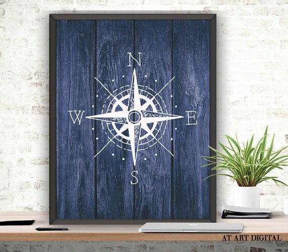Compass Art Print, Compass Pose, Nautical Poster, Digital Download, Rustic Wood, Printable Compass, Nautical Bedroom Art,Rustic Nautical Art