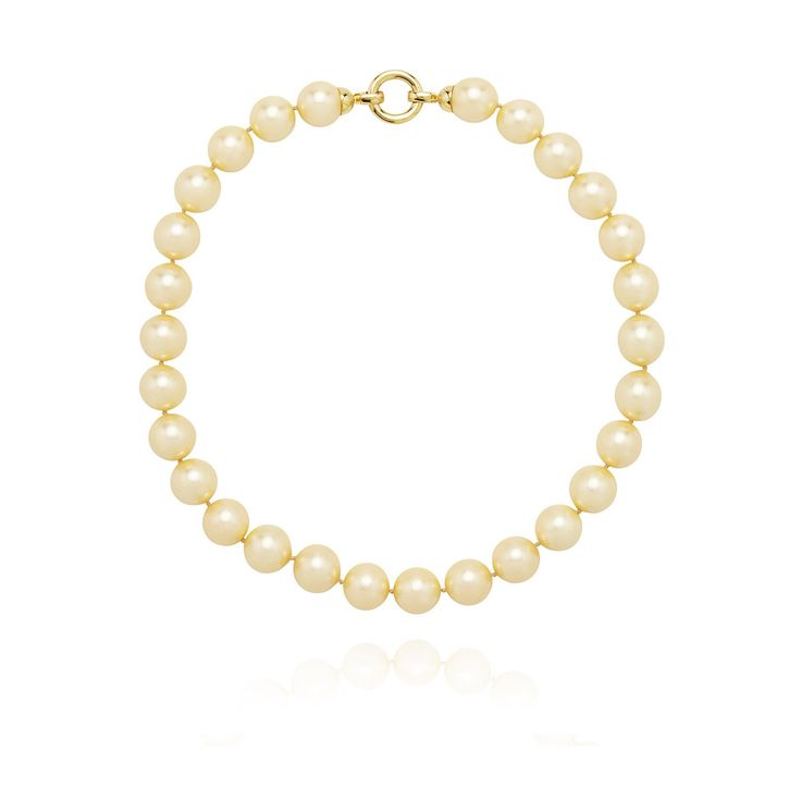 PASTEL YELLOW GOLD PEARL NECKLACE | with sterling silver clasp plated in 18kt yellow gold.