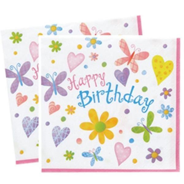 Kelebekler ve Çiçekler Happy Birthday Kağıt Peçete 16 Adet
