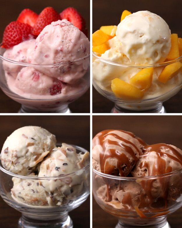 Sorvetes caseiros: morango, maracujá com manga, coco e chocolate com doce de leite