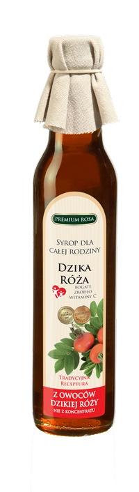 Syrop z owoców róży. Rosehip Syrup. Syrop różany to wspaniały owocowy bukiet, harmonia łagodnego smaku i aromatu. To także świetny witaminowy sos do sałatek owocowych, deserów i innych potraw. Doskonały przy leczeniu przeziębień i grypy, stanów zapalnych naczyń krwionośnych oraz przy krwawieniu dziąseł. Poprawia przyswajanie żelaza, przemianę materii oraz wydolność nerek. Cena: 9,00 zł. #Rosehip #Syrup #Syrop #Rosa