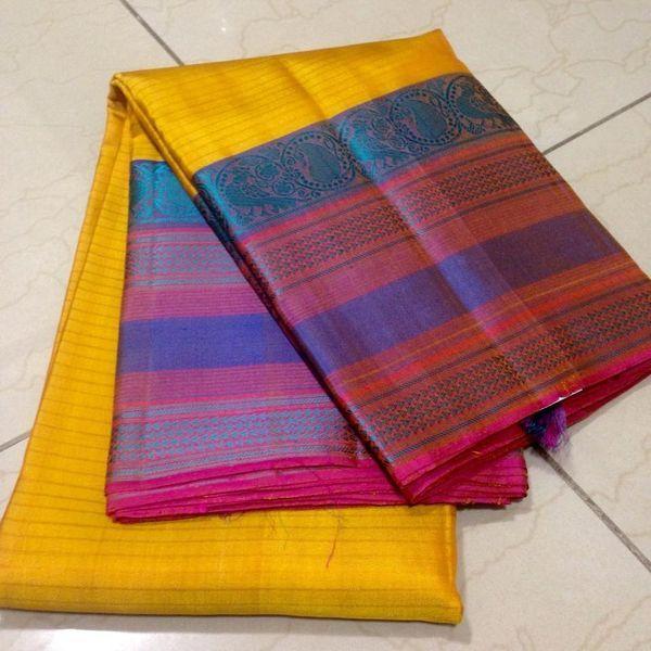 Buy KSS4000015-THAMBOORI's Handwoven Kanchivaram-thread woven soft-yellow pink beauty, 800g online - Handwoven Kanchivarams,Soft Silks, Silk Cottons and Tussars!