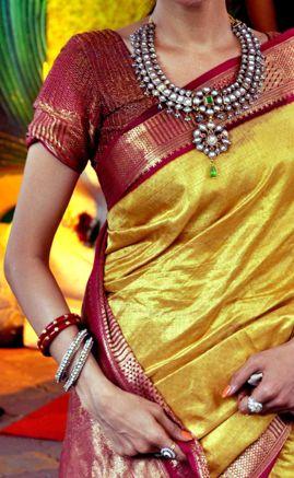 Kanjeevaram sari necklace yellow loveee