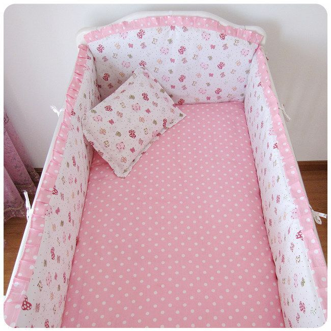Promotion! 6pcs Pink crib baby bumper cot bedding sets baby fleece newborn children  (bumpers+sheet+pillow cover)